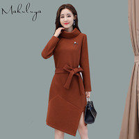 Makuluya Super Grace Quality Women Dresses Long Sleeve Knitted High Collar Sweater Dresses Knee Length Special