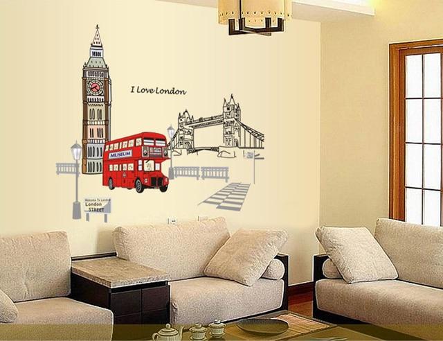 US $6.45 30% di SCONTO|Vendita di londra decorativi adesivi murali camera  da letto soggiorno divano sfondo decorazione della casa carta da parati QL  ...