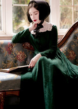 [AIGYPTOS–JIANAI]Original Design Spring Autumn Women European Manor Vintage Embroidery Long Sleeve Slim Cotton Linen Long Dress
