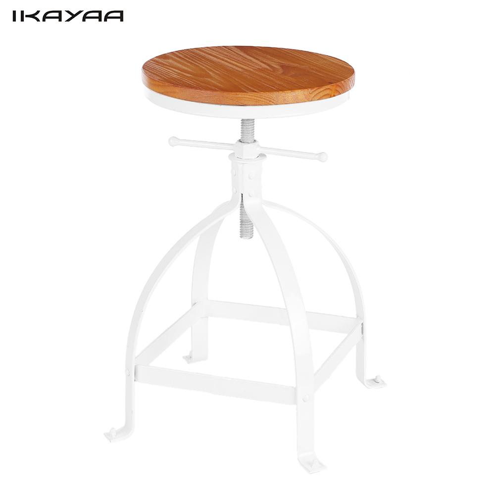 ikayaa metal industrial style bar stool height adjustable swivel pinewood top dining chair bar furniture us - Counter Stool Height