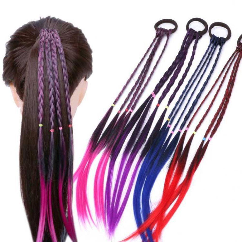 2pcs Colorful Wigs Ponytail Hair Styling Tools Headbands Rubber Bands Beauty Party Headwear Braiding Hair Styling Accessories