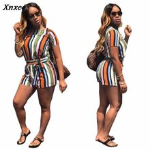 цена 2018 sexy two piece set summer outfits tracksuit women top+short pants striped print ensemble femme 2 pieces pantalon dos piezas