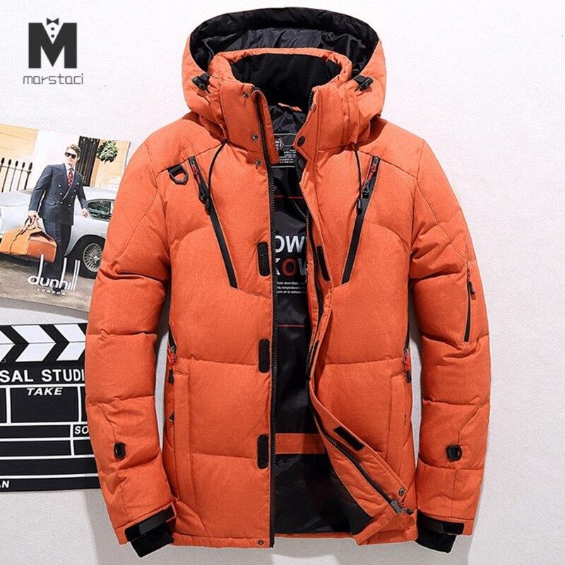 Haute qualité veste d'hiver hommes à capuche épais chaud canard vers le bas Parka manteau décontracté Slim vers le bas hommes pardessus beaucoup de poches