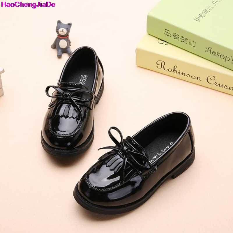 HaoChengJiaDe Girls Black Dress Leather Shoes For Children Wedding Patent Leather  Kids School Oxford Shoes Flat 49e37275f6b8