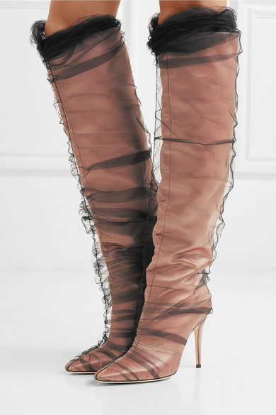 2018 New Brand Women Shoes Long Boots Over Knee High Heel Boots Pointed Toe Genuine Leather Knee-high Motorcycle Boots Botas