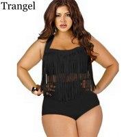 Plus Size L XXXL New Vintage Fringe High Waist Bikini Tassels Push Up Bikini Retro Black