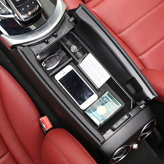 Cardimanson車オーガナイザー用メルセデスベンツc glcクラスw205 x253 2015 +中央アームレスト収納ボックスコンテナトレイ車スタイリング