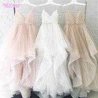 YQLNNE Romantic White High Low Wedding Dress 2018 Bridal Dresses Straps Tulle Zipper Back Floor Length Vestido De Noiva
