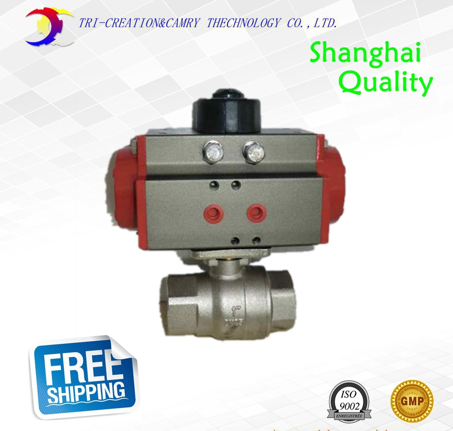 2 DN50 thread stainless steel ball valve,2 way 304 screwed/pneumatic female ball valve_double acting AT straight way ball valve