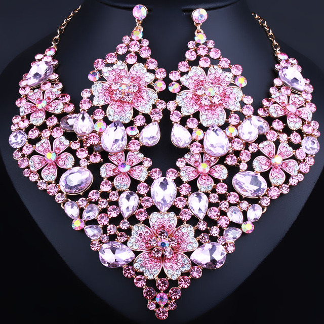 Exquisite crystal flower statement necklace and big earrings for women African beads bridal jewelry sets
