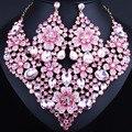 Exquisito cristalino de la flor collar llamativo y pendientes grandes para las mujeres perlas Africanas sistemas de la joyería nupcial