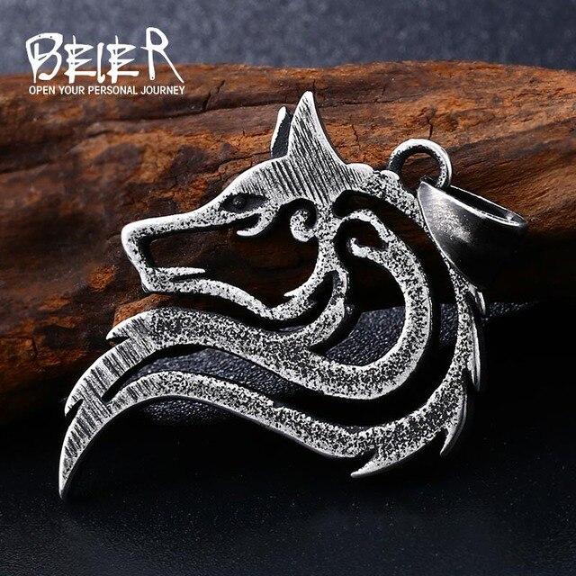 BEIER Punk 316L in acciaio inox nuovo disegno howling wolf pendente della collana vichingo uomini celt di Fascino dei monili di Modo BP8-302