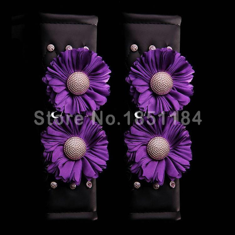 Luxury-Flower-Rhinestone-Leather-Car-Seat-Safety-Belt-Covers-Interior-Decoration-2pcs-Purple-l1