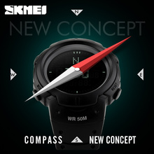 2017 SKMEI Brand Compass Watches 5ATM Water Proof Digital Outdoor Sports Watch Men's Watch EL Backlight Countdown Wrist Watches