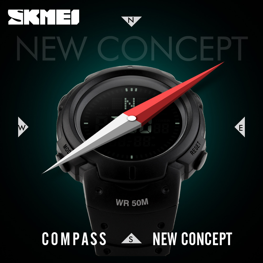 2017 SKMEI Marke Kompass Uhren 5ATM Wasserdicht Digital Outdoor Sportuhr Herrenuhr EL Hintergrundbeleuchtung Countdown Armbanduhren