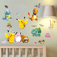 Pokemon Wall Stickers for Kids Rooms Home Decorations Pikachu Wall Decal Amination Poster Wall Art Wallpaper Kids