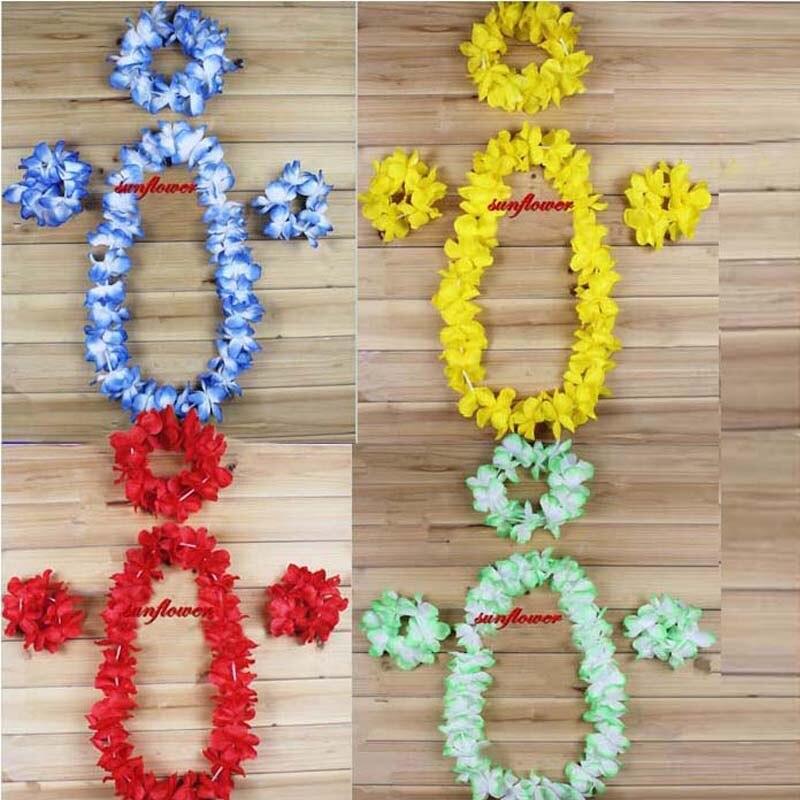 Fleur hawaïenne Guirlande Cou Lei Guirlande Bandeau Bracelet Hawaii Poule Partie Luau Décoration D'anniversaire dans Artificielle et Fleurs Séchées de Maison & Jardin