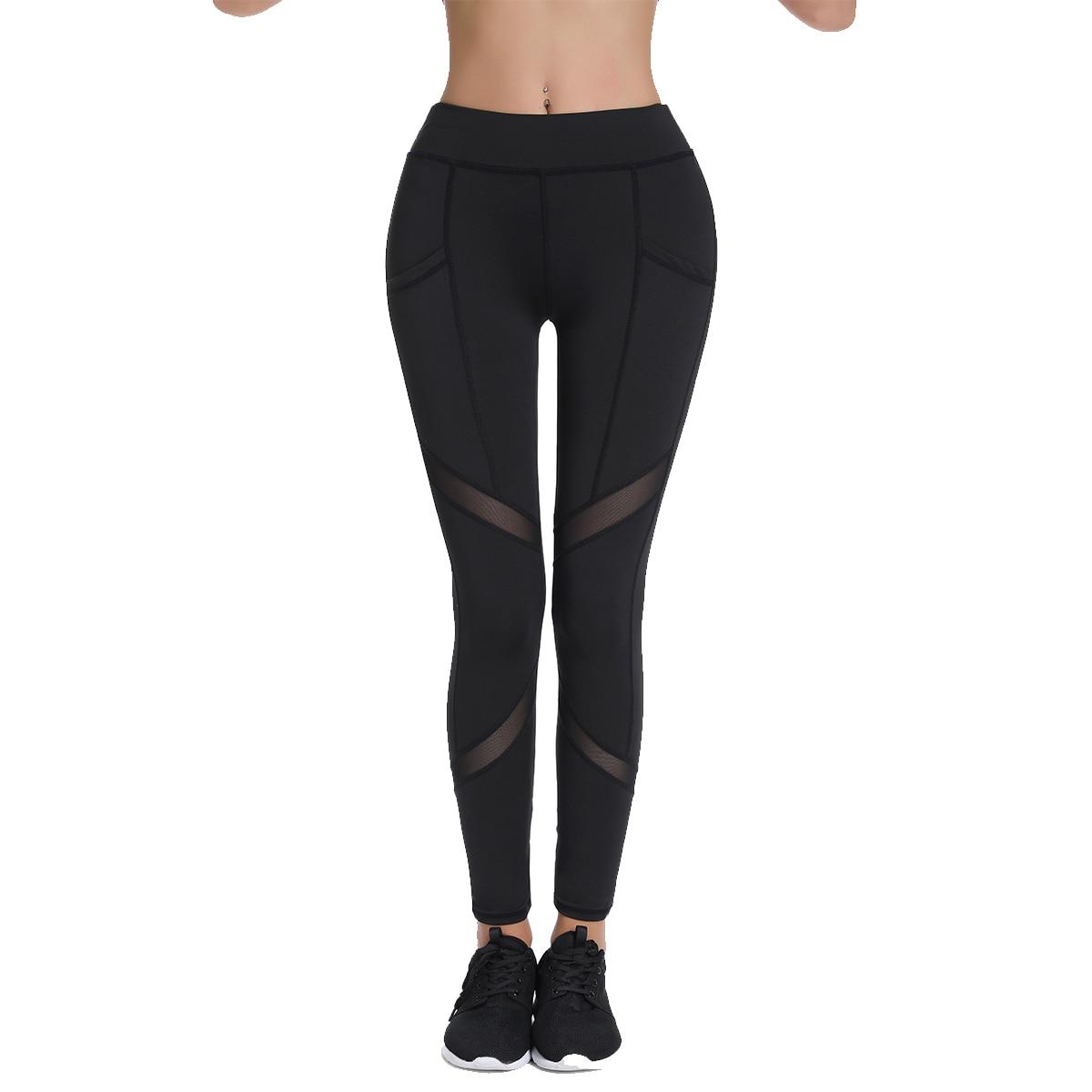Women Ankle Length Plus Size High Elasticity Workout Leggings With Pockets Breathable Mesh Gym Sport Pant Black S-XXXL