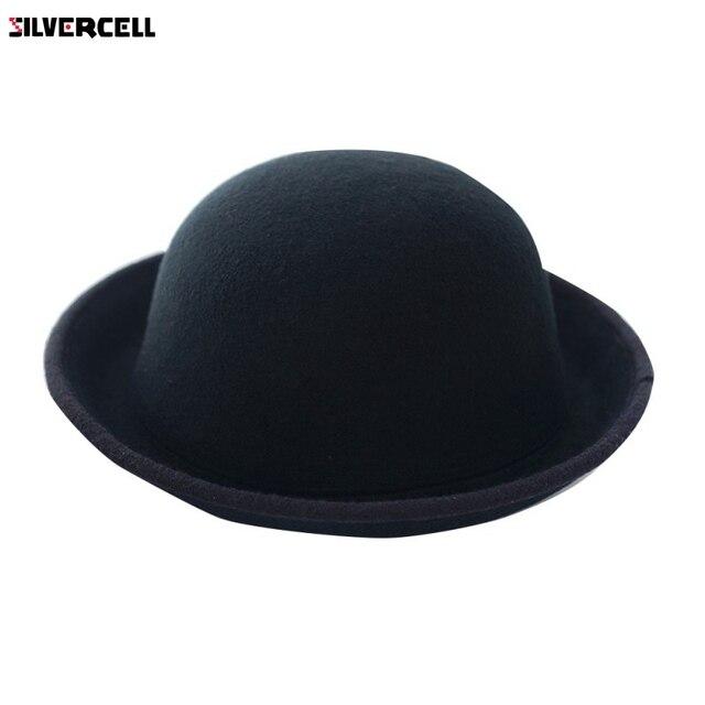 Women Men Fashion Vintage Bowler Top Hats Nice Roll Brim Derby Fedora Dome  Cap 63895da85fb