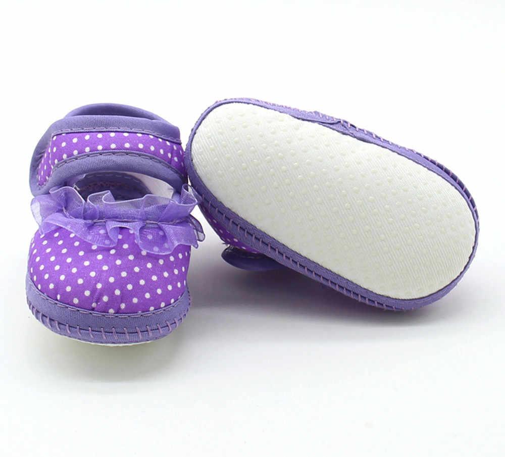 DotLace de bebé de algodón zapatos de bebé en primer lugar los caminantes niño chico Bowknot suave Anti-Slip cuna zapatos Casuales zapatos planos zapatos