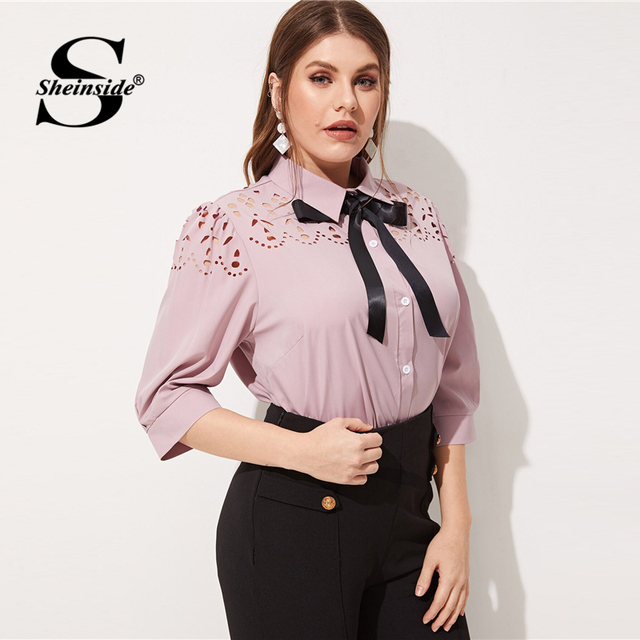 Sheinside Plus Size Pink Hollowed Out Blouse Women 2019 Spring Half Sleeve Blouses Ladies Elegant Solid Bow Tie Neck Top 3