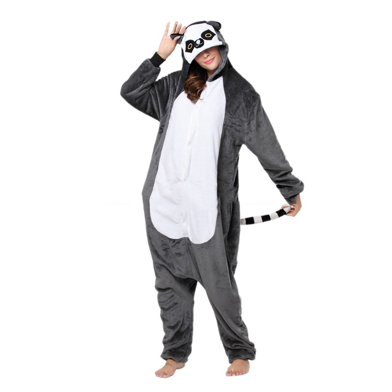Kigurumi Lemur Pajama Animals Cartoon Women Onesie Adult Cartoon Madagascar Funny Costume Carnival Gray Long Tail Lemur Overall