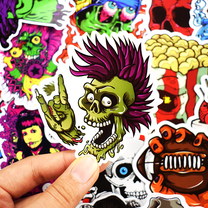 50 Pcs Mixed Horror Stickers for Luggage Laptop Skateboard