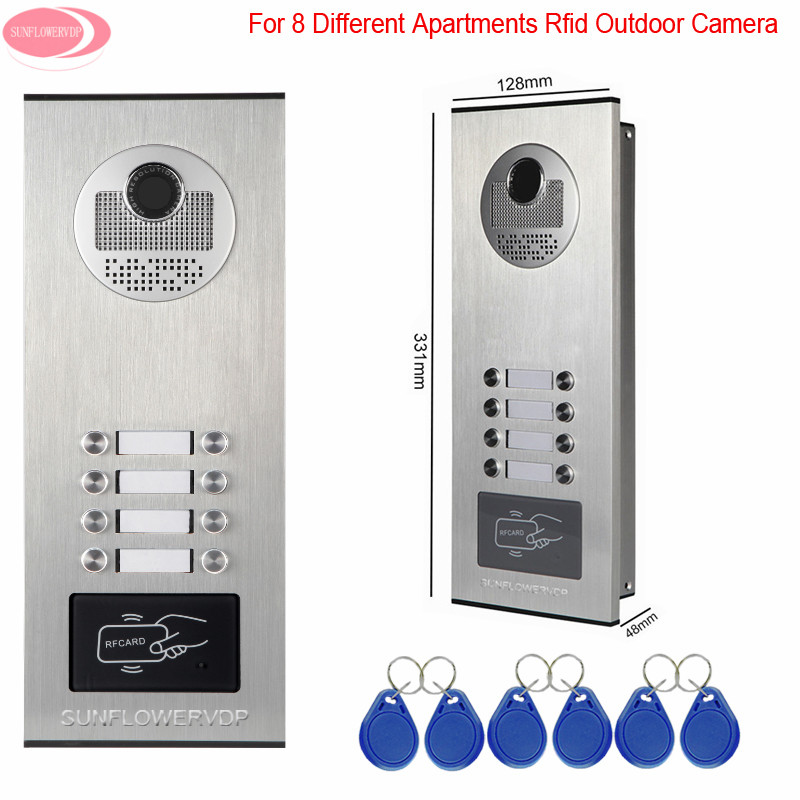 Video Door Entry Protector 8 Keys For 8 Apartments Access Control Rfid Unlock Door Intercom System Outdoor CCD Camera Intercom
