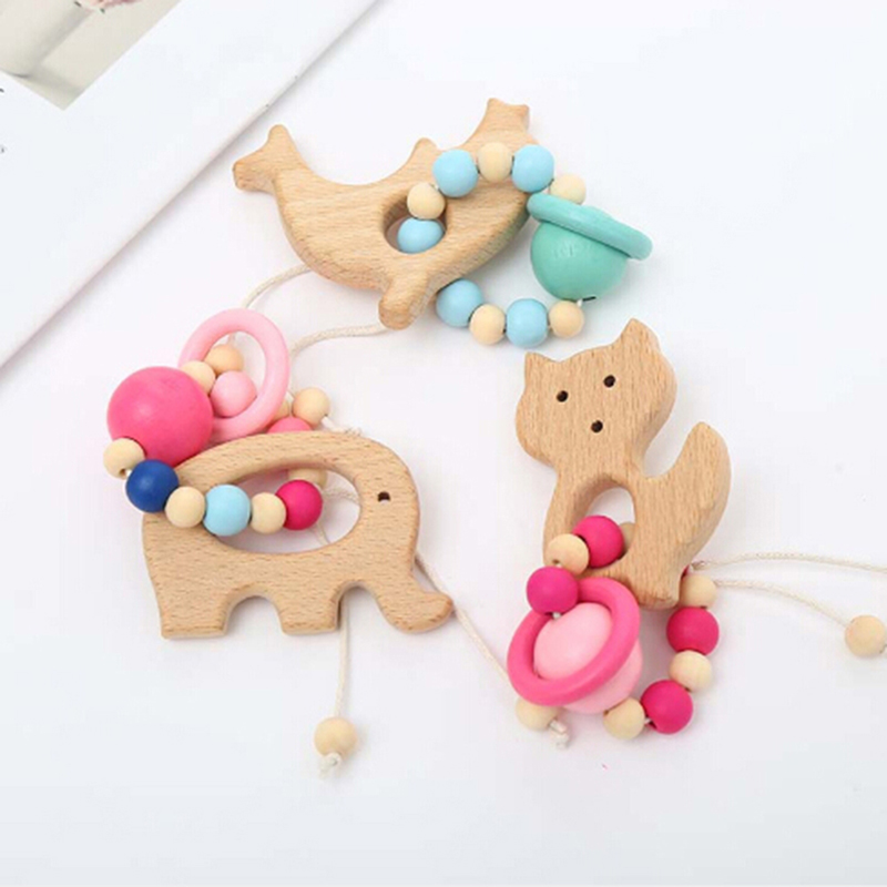 2018 Hot Baby Nursing Bracelets Wooden Teether Crochet Chew Beads Teething Wood