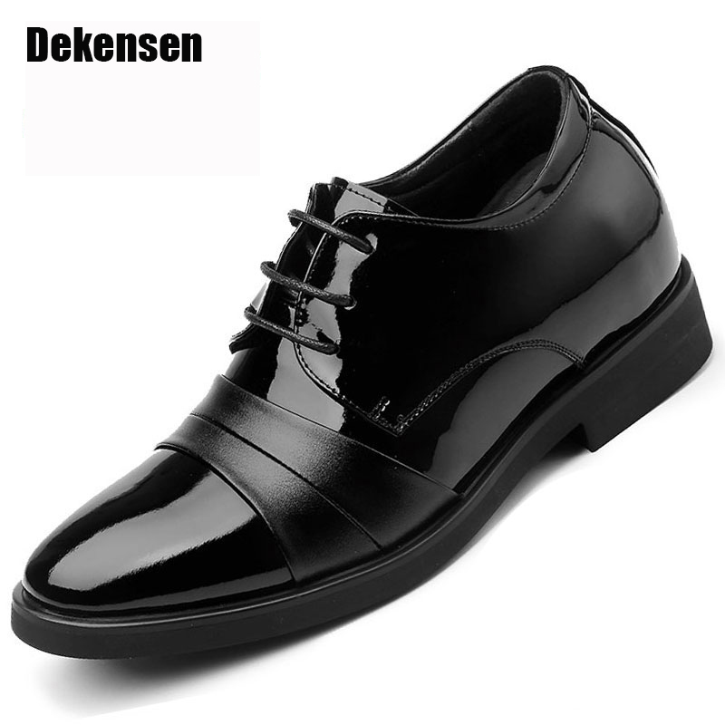 2017 Men Dress Shoes British Style Oxford Shoes For Men Flats Leather Fashion Men Shoes 8cm Heighten Increasing Wedding Shoes