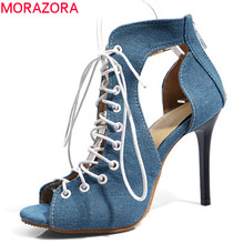 949b23755b 48 MORAZORA 2019 grande tamanho mulheres sandálias gladiador aberto toe  verão sapatos zip cruz amarrada sexy