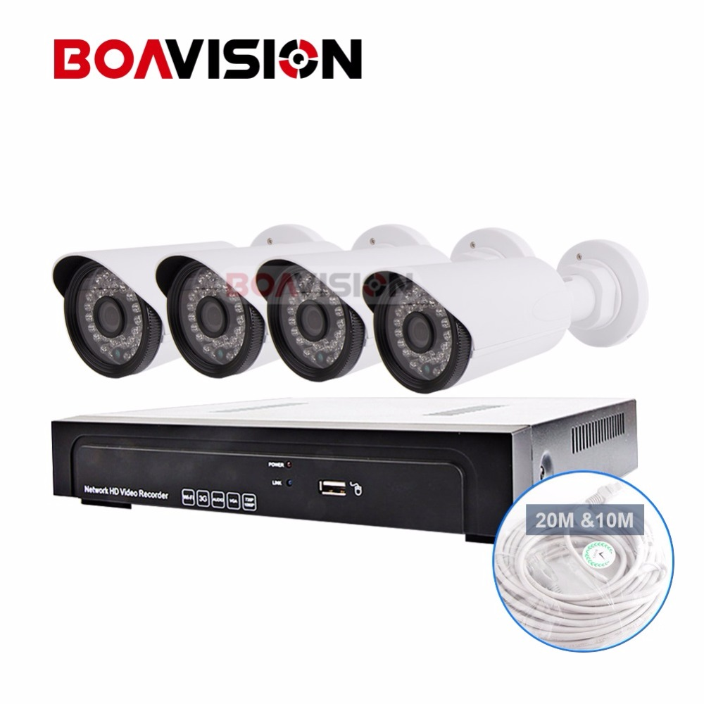 4CH NVR System Security CCTV NVR 1080 4pcs Recorder H.264 Outdoor CMOS 2MP 1080P IP Camera ONVIF Bullet +DC Power,20M Cable 4pcs 12v 1a cctv system power dc switch power supply adapter for cctv system