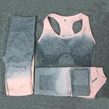 3PCS Ombre Yoga Set Sports Bra Seamless High Waist Leggings Long Sleeve Crop Top Women Running Gym Clothing Fitness Suit