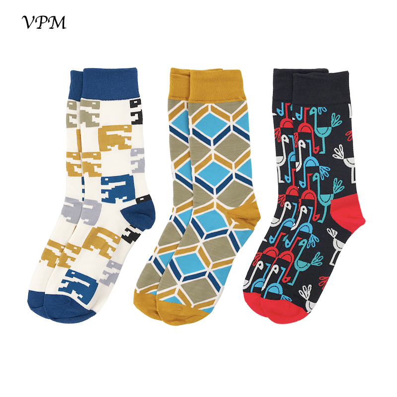 VPM 3 Pairs/Lot Cotton Men Crew Socks Autumn Winter Good quality Colorful Crane Sock for Man