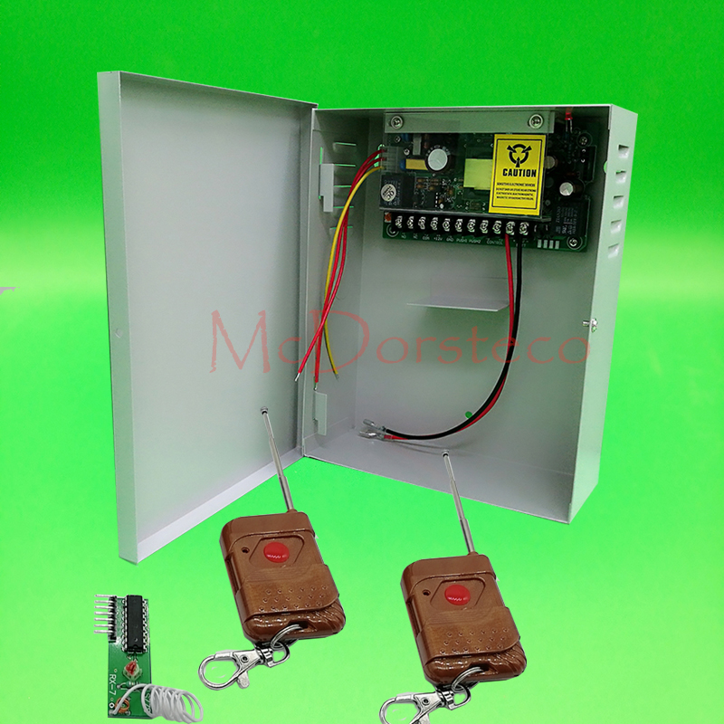 12V5A uninterrupted battery function Door access power supply Switch Power Supply + 2 pcs wireless remote Control 12v5a access control lswitching power supply for access control ac 12v5a transformer wireless remote control