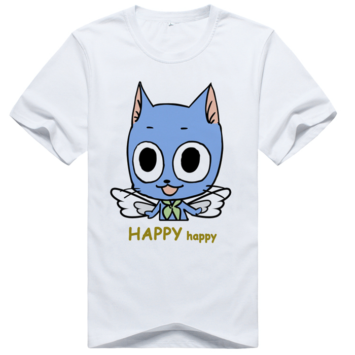 FAIRY TAIL Happy cosplay animation man women neutral summer cotton short T shirt free shipping