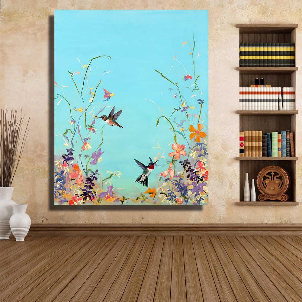 QKART 油絵キャンバス壁アート鳥咲い花キャンバスプリント壁の写真ポスターやプリント