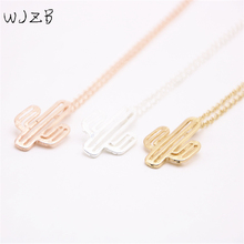 WJZB Fashion cactus pendant necklace.The cactus of a popular jewelry plant necklace for women.Wholesale free shipping