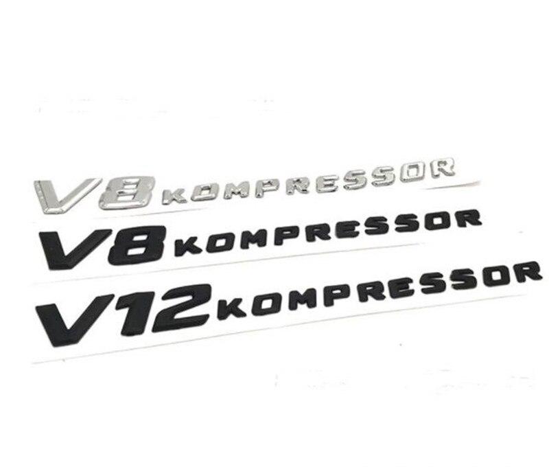10pcs New Car Styling ABS silver Black 3D V8 KOMPRESSOR V12 KOMPRESSOR Decal Side Sticker Badge