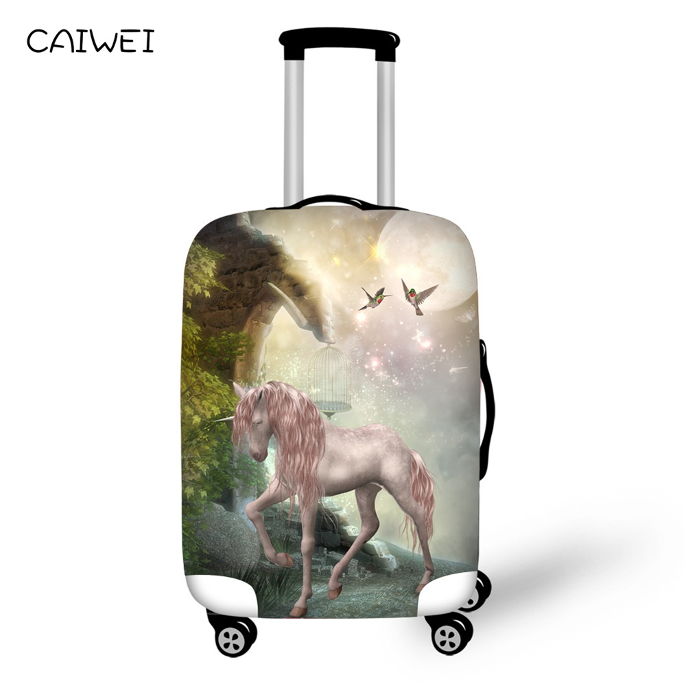 Kind And Interesting Colorful Unicorn Travel Suitcase Protector Zipper Suitcase Cover Elastic