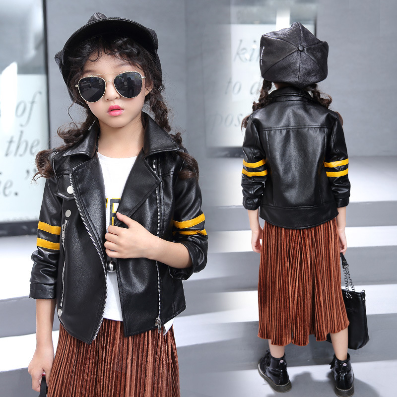 Children's Clothing Girl False Leather Jacket Coat 2018 New Girls Leather Outerwear Pu Leather Jacket Black 110-160 pu leather and corduroy spliced zip up down jacket