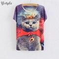 Impressões bonito cat rainha das mulheres t camisa 2016 ocasional do verão senhoras Manga Curta O Pescoço Solto Tops Misturas de Algodão T-Shirts SH175