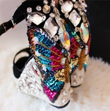 2017 Summer Rope Braided Wedge Sandal Open Toe Ankle Strap Colorful Crystal Embellished Wedge Heel Sandals Women Dress Shoes цены онлайн