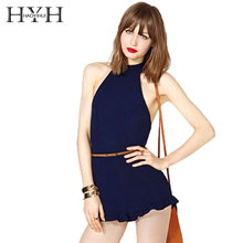 HYH HAOYIHUI 2017 New Fashion Women Romper Blue Women Sexy Romper Jumpsuit Trim Hem Halter Backless Summer Tie Waist Slim Short rainbow patch contrast binding halter romper
