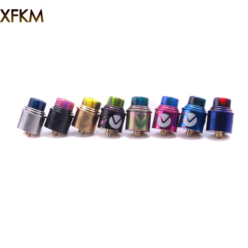 XFKM RDA V Atomizzatori Ricostruibile Dripping Controllo del Flusso D'aria Regolabile 24mm PEEK Isolatori 7 Colori Fit 510 Mod Resina Drip Tip