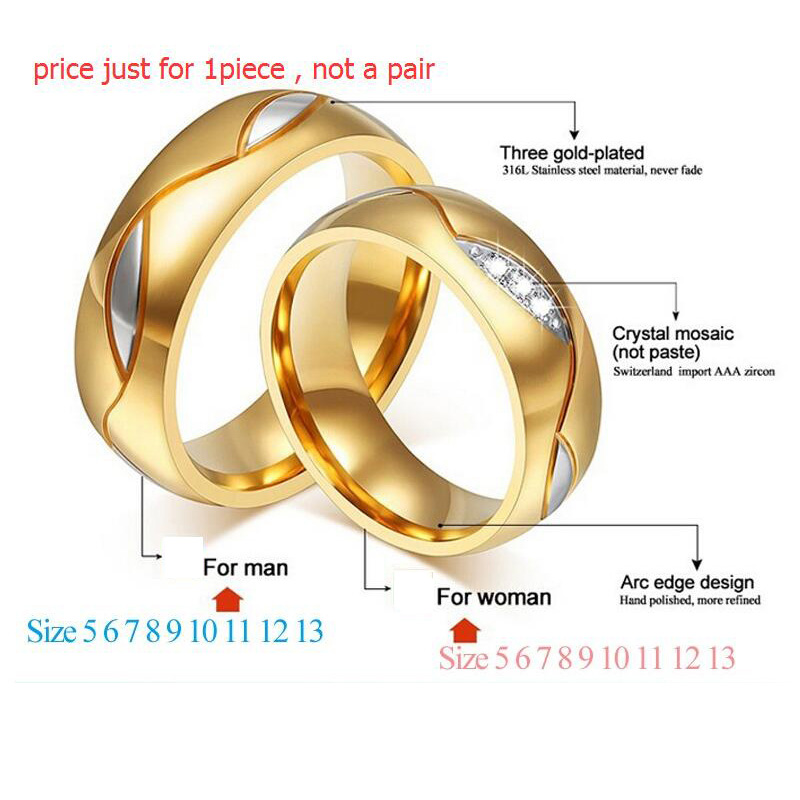 Meaeguet Classic Par Rings For Lover's Cubic Zirconia Wedding Ring - Mode smykker - Foto 2