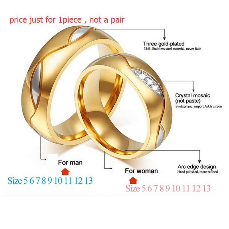 eb2c491302 ... Meaeguet Classic Couple Rings For Lover's Cubic Zirconia Wedding Ring  Gold-Color Stainless Steel Anel ...