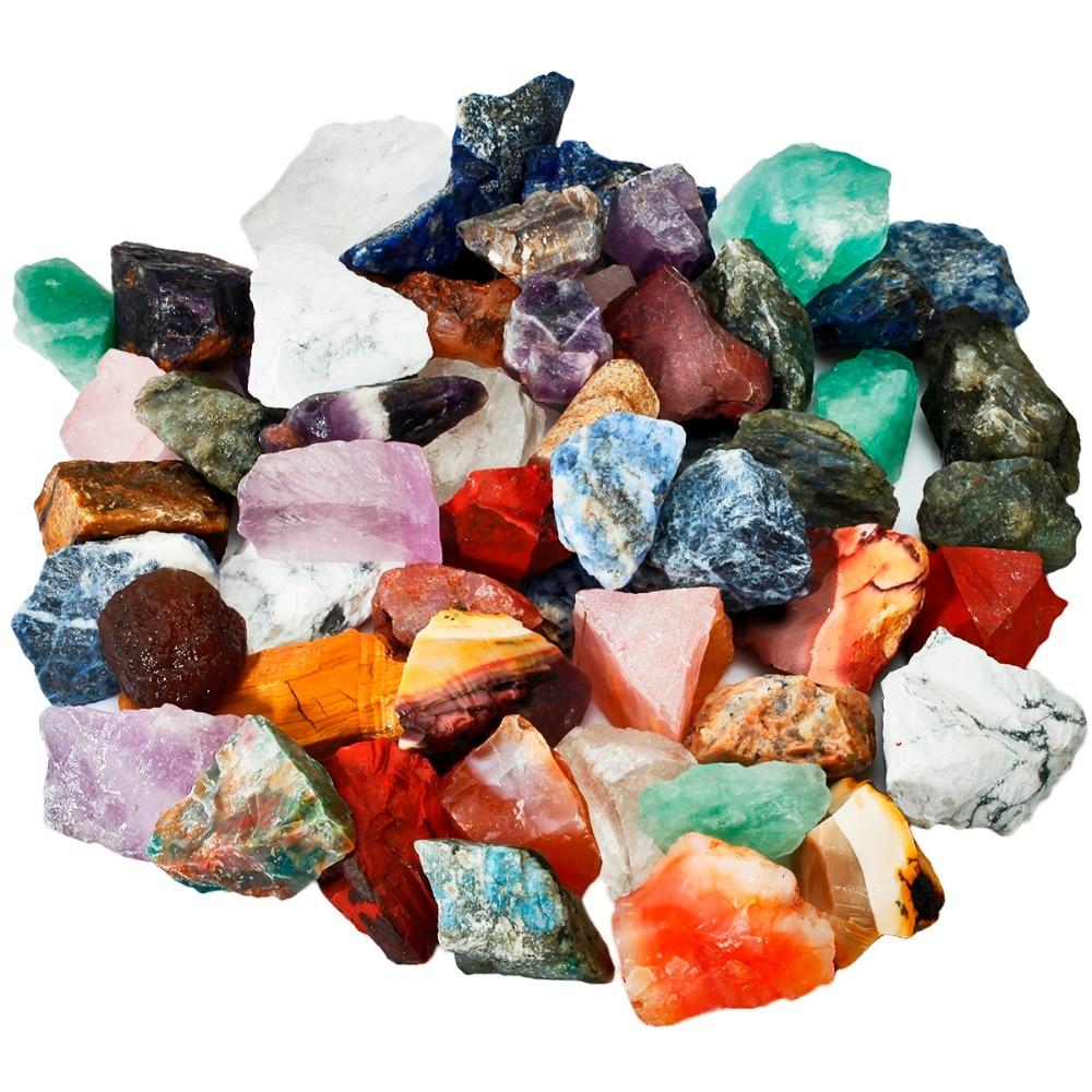 TUMBEELLUWA 1lb (460g) Natural Mixed Stone Crystal Raw Rough Stone For Cabbing,Tumbling,Cutting,Lapidary,Polishing,Reiki Healing