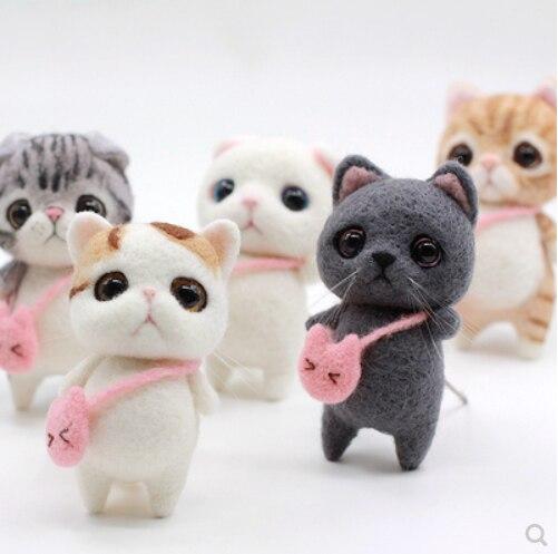 0 ขั้นพื้นฐานผู้ใหญ่ handmade DIY cat meow Star วันเกิดของขวัญขนสัตว์ needlepoint kit wool felt เข็มตกแต่งหัตถกรรม needlecra