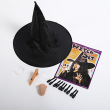 Halloween Costume Party Props Cosplay Witch Dressed Up Witches Scary Hat Nose Chin Nails Sets Decoration
